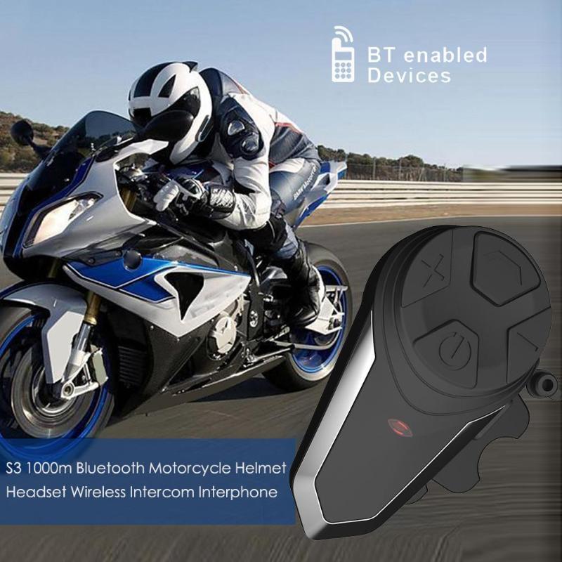 VODOOL S3 Bluetooth Motorcycle Helmet Headset 1000m Range BT Wireless Intercom Interphone Motorcycle Accessories