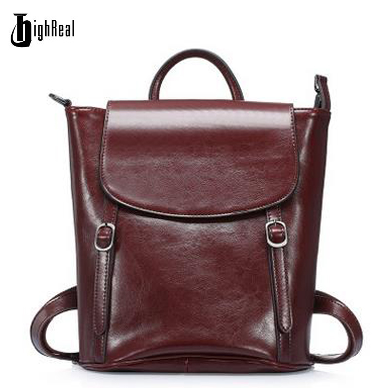 HIGHREAL Backpack Bags Brands Oil Wax Leather Women Backpacks Girl Female Genuine Leather Backpack Cowhide Bag J02 women s oil wax genuine cowhide leather backpack lady girl school bag crossbody shoulder travel bag for woman mr1037