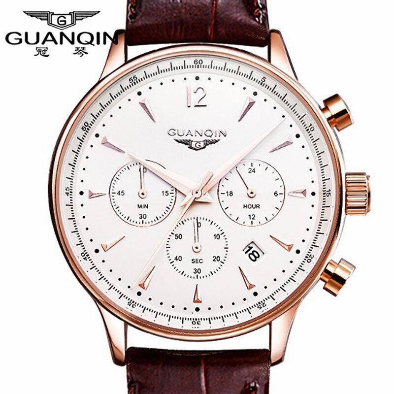 Часы Для мужчин Роскошные оригинальный бренд GUANQIN спортивные часы Для мужчин модные наручные часы-хронограф водонепроницаемый мужской кож...