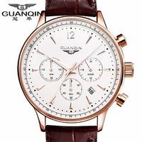 Luxury Brand Sports Watch Men Quartz Watches Auto Date GUANQIN Dress Wristwatch Military Watches Man Leather