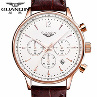 Luxury Brand Sports Watch Men Quartz Watches Auto Date GUANQIN Dress Wristwatch Military Watches Man Leather