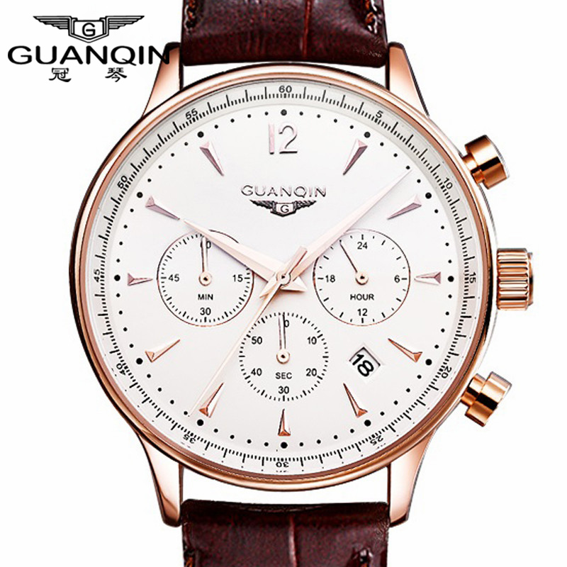 Watches Men Luxury Original Brand GUANQIN Sport Watches Men Fashion wristwatch Chronograph waterproof Male leather Quartz watch scientific and technological sense men watches waterproof calendar chronograph fashion quartz watches luxury wristwatch