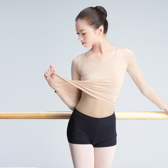 7d15deeb8 Girls Adult Nude Ballet Dance Clothes Top Long Sleeve Close Fitting ...