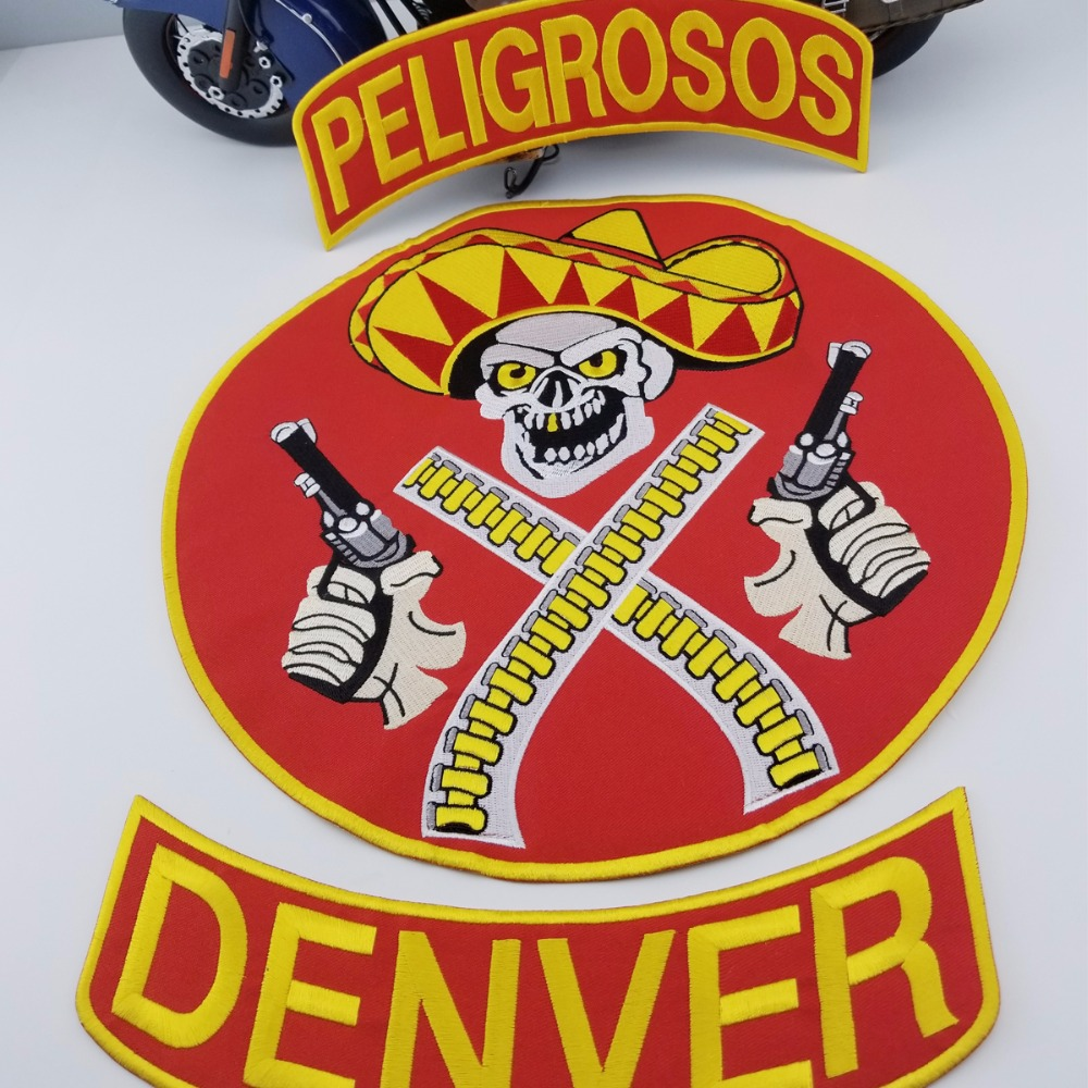 L171213-3 HOT SALE PELIGROSOS DENVER RED COWBOY WITH GUN MOTORCYCLE CLUB VEST OUTLAW BIKER MC JACKET PUNK LARGE BACK IRON ON WEST PATCH (5)