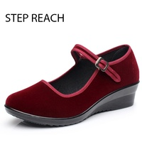 New Fashion Women Shoes Medium Heel Ankle Strap Pumps Wedges Women Mary Jane Shoes High Heels