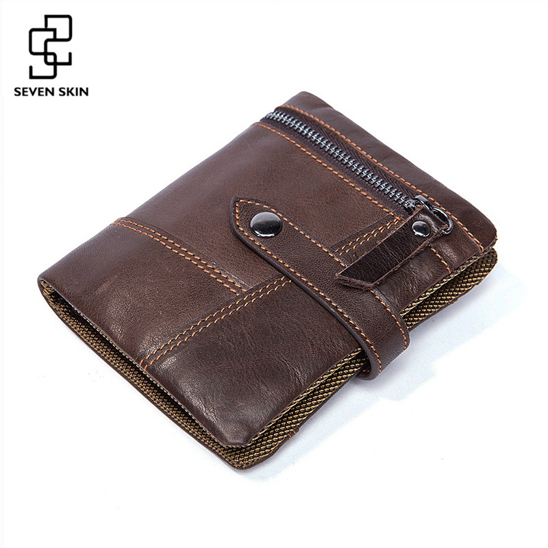 2017 Famous Brand Men Wallets Genuine Leather Wallet Men Vintage Coin Purse Male Bifold Short Zipper Wallet Small Card Holder