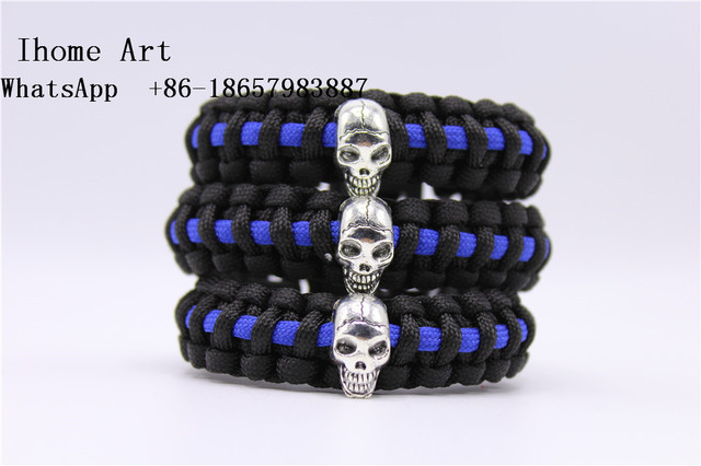 Police Thin Blue Line Paracord Bracelet Skull Law Enforcement