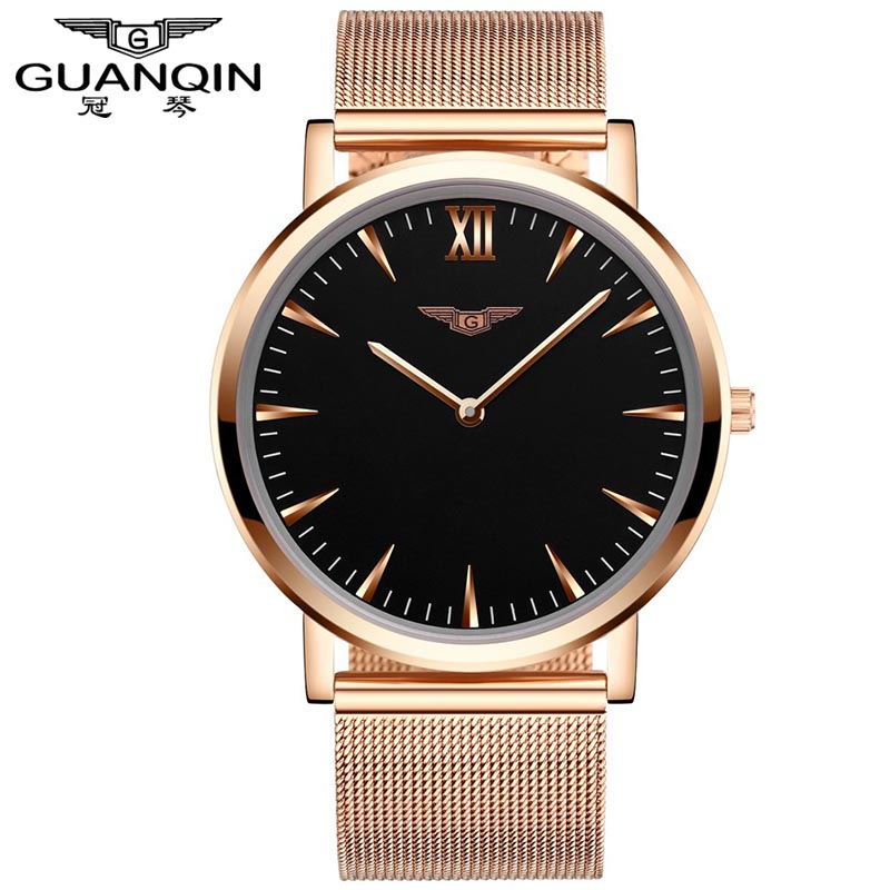 Relogio Masculino New Fashion Mens Watches Top Brand Luxury GUANQIN Mesh Band Stainless Steel Ultra Thin Clock Men Quartz Watch bestdon new top luxury watch men brand men s watches ultra thin stainless steel mesh band quartz wristwatch fashion casual clock