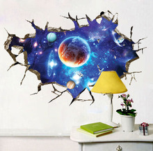 3D broken wall space planet stickers bedroom decoration mural living room decor  wallpaper