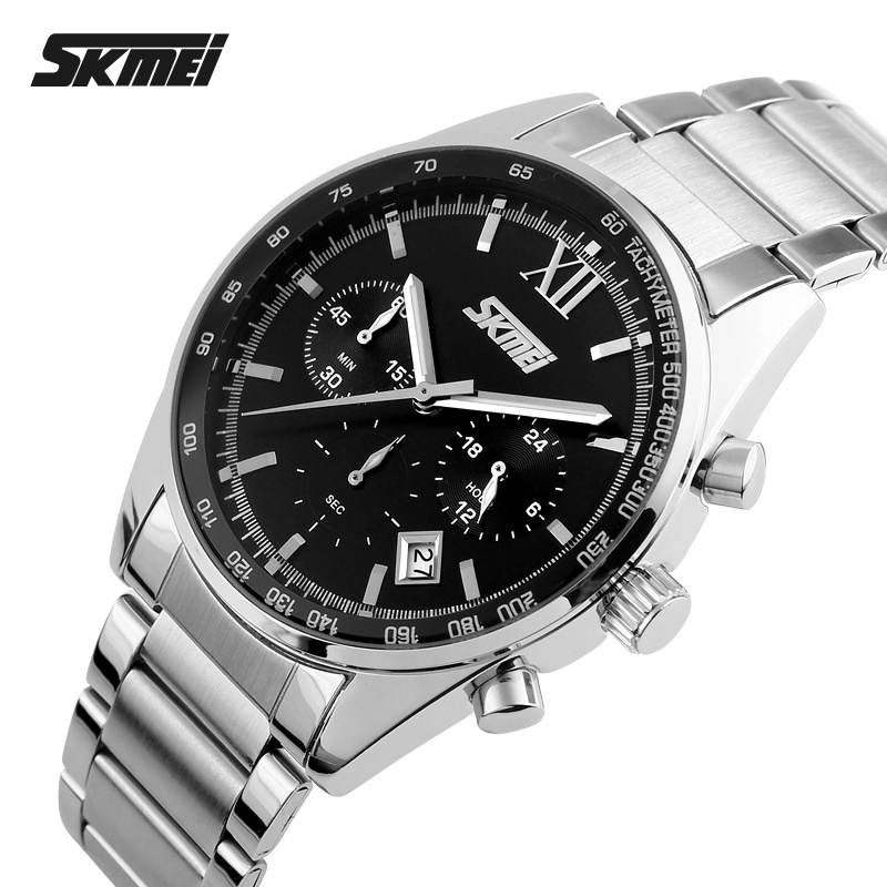 2017 Watches Men Luxury Top Brand SKMEI Full Stainless Steel Analog Display Fashion Men's Quartz Watch sport casual Wristwatch