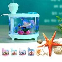 Fish Tank LED Light Độ Ẩm Không Khí Nhỏ USB Essential Oil Aroma Diffuser Văn Phòng Nhà Aquarium Mist Maker Quà Tặng Độc Đáo