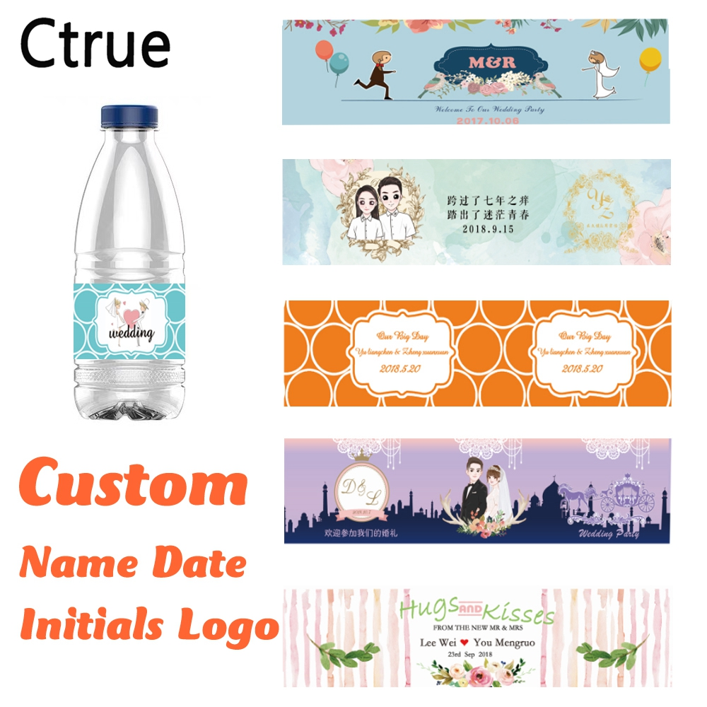Personalized logo name date Bottle Water Labels bottle Stickers Wrappers Birthday baby shower Anniversary Wedding Decoration