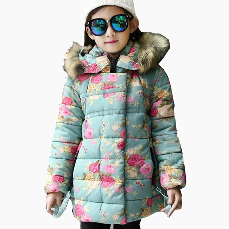 New Children Girls Winter Flower Floral Warm Down Parkas Coats and Jackets For Teenagers Girls Clothing Hooded Snowsuit Coat 65 fashion girls winter down coat teenagers long down thick warm coat parkas fur collar hooded jackets clothing children snowsuit