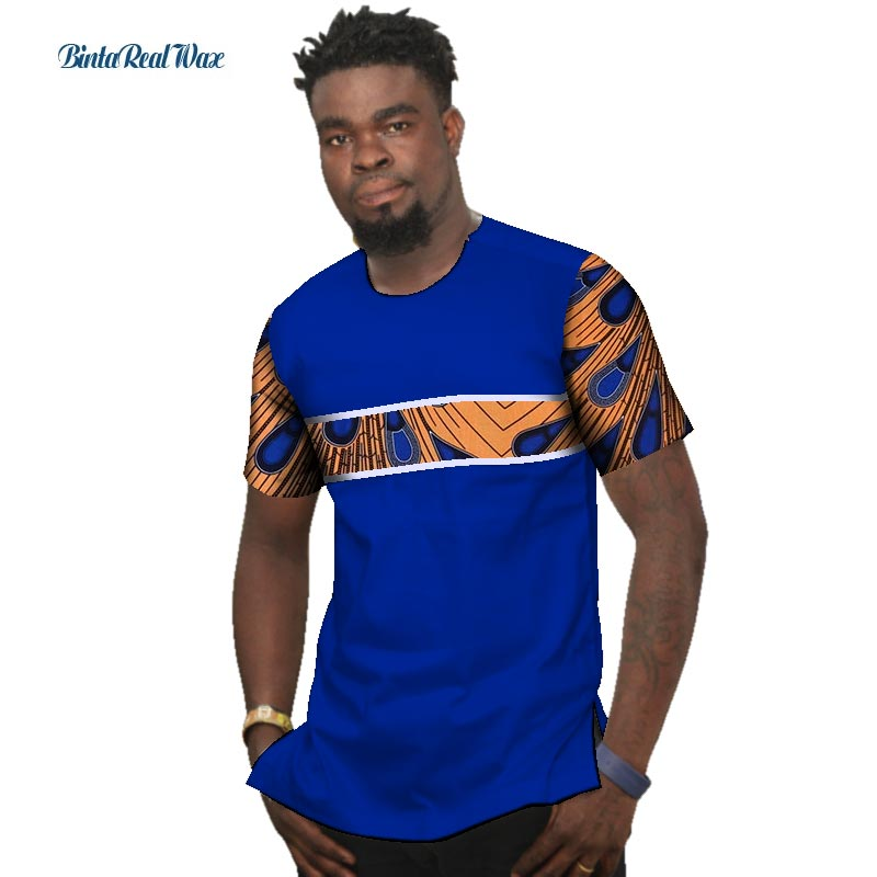 Summer Bazin Riche Men Shirt 100% Cotton Custom Dashiki African Print Patchwork Shirts Traditional African Style Clothing WYN477