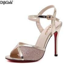 Dijigirls frauen sandalen auf der plattform high heels vogue Pailletten damen schuhe sexy hochzeit damenschuhe hohe ferse