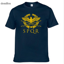 SPQR Roman Gladiator Imperial Golden Eagle T-Shirt Mens Casual Short O-Neck T Shirt Harajuku Tops Tees Shirt