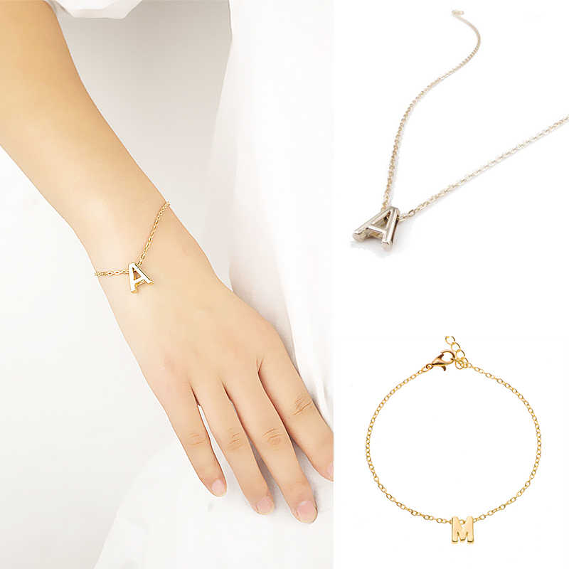 Hot Gold Color 26 English Letters Women Bracelets Trendy Jewelry Summer Accessories Friend Gifts Fashion Jewelry