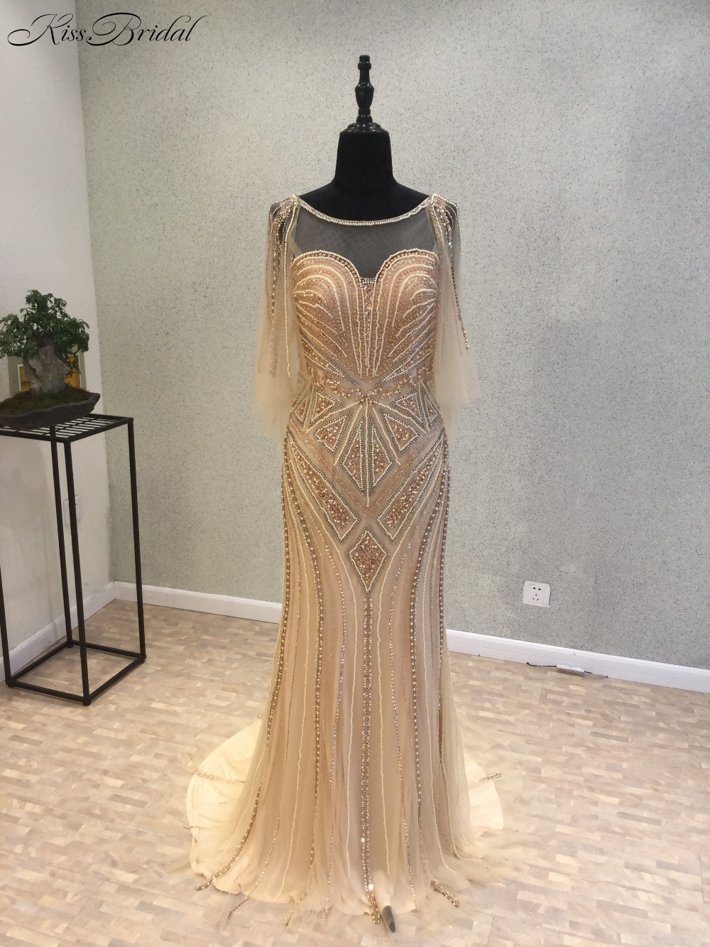 New Arrival Mermaid Long   Evening     Dress   2018 Scoop Long Sleeves Floor Length Beading Tulle Prom   Dresses   Party Gowns Vestidos
