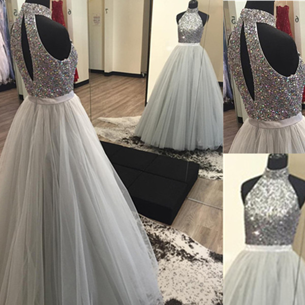 2017 silver grey ball gown prom dresses high neck fully for Silver ball gown wedding dresses