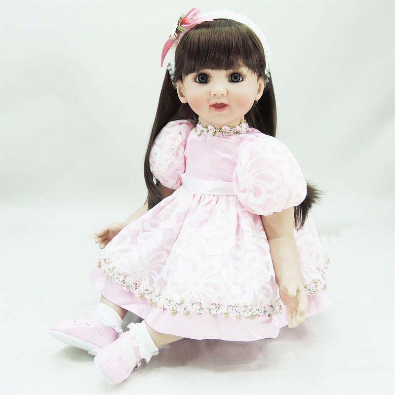 Pursue 24/60 cm Pink Dress Silicone Reborn Toddler Baby Princess Girl Doll Toys with Cotton Body Lifelike Doll Toy for Children pursue 22 56 cm big smile face reborn boy toddler baby doll cotton body vinyl silicone baby boy doll for children birthday gift
