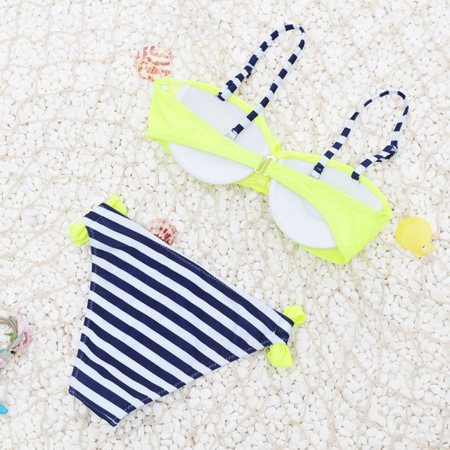 Summer Striped Polka Dots Pattern Padded Push Up Bikini Set Swimsuit