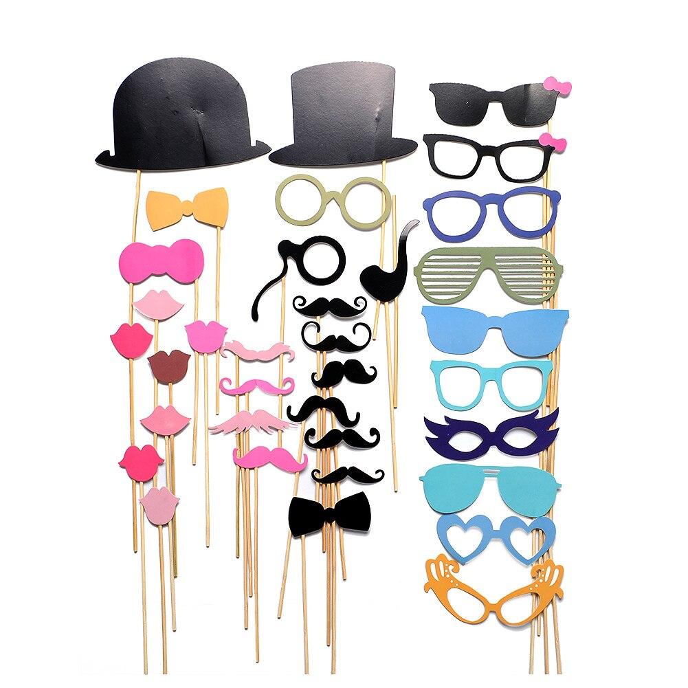 36PCS/lot New DIY Face Masks Photo Gatsby Props Mustache On A Stick Birthday Christmas Party Favor Decor