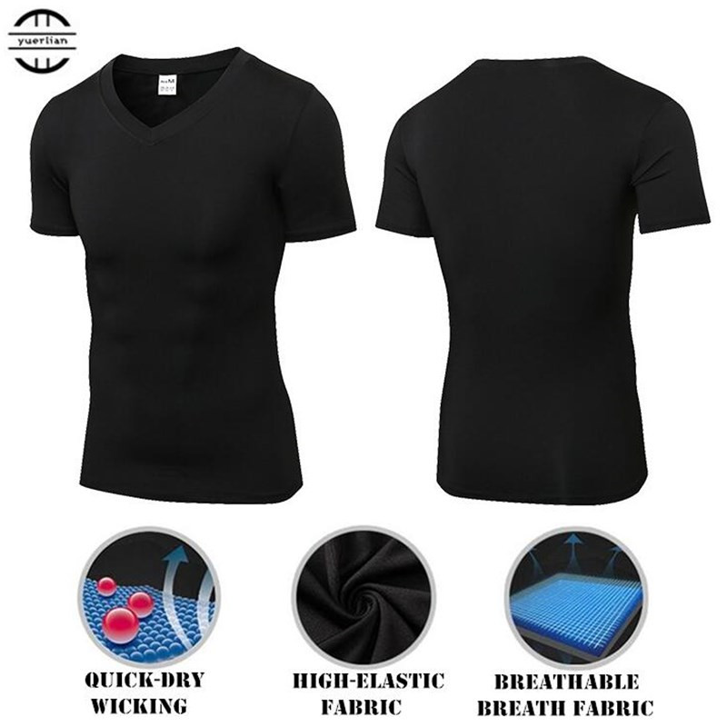 300p Men Shapers Compression Underwear 3D Tight V-neck T-shirt,Elastic Quick-dry Wicking Sport Fitness GYM Running Short Sleeves