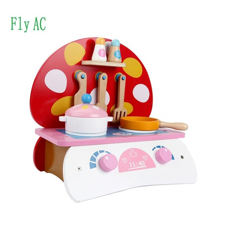 1 Set Baby toys kid cooking set wooden kitchen toy for children wooden food play kitchen set stove christmas gift huile toys 3108 baby toys traveling picnic cooking suitcase toy included stove utensils plates toy meal bacon and eggs