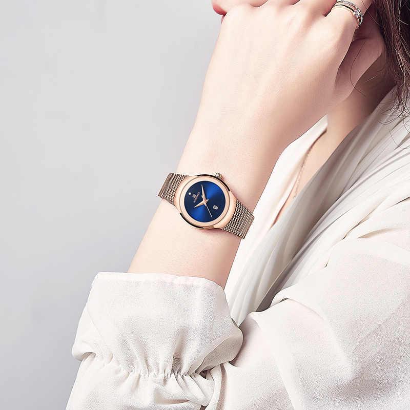 חדש NAVIFORCE נשים שעונים למעלה יוקרה מותג אופנה מקרית גבירותיי קוורץ שעוני יד נירוסטה רשת שמלת שעון לילדה