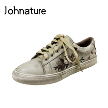 Johnature 2021 New Spring/autumn Retro punta tonda stringata solido Casual ricamato mocassini donna scarpe basse in vera pelle