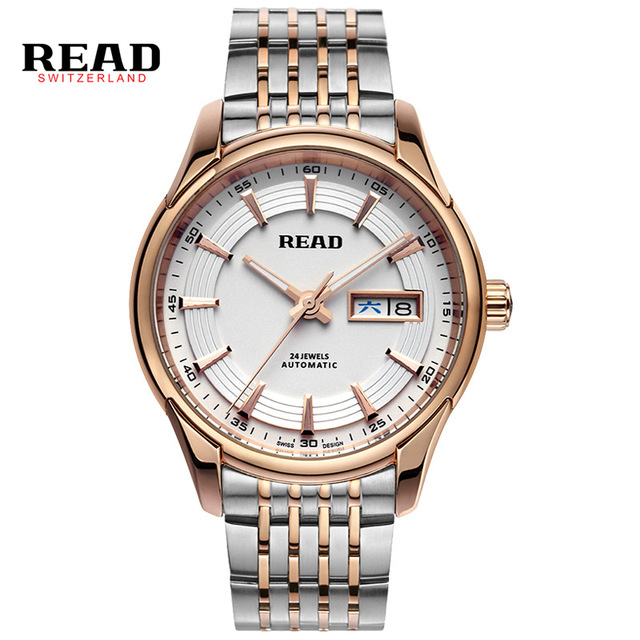 READ Top Brand Luxury Fashion Automatic Mechanical Watch Men Stainless steel Calendar Sport Wrist Watch Relojes Hombre R8082 men luxury automatic mechanical watch fashion calendar waterproof watches men top brand stainless steel wristwatches clock gift