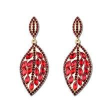 купить 2018 Bohemia Rhinestone Crystal Earrings For Women Leaf Shape Wedding Earring Personality Statement Jewelry Bridal Accessory по цене 181.72 рублей