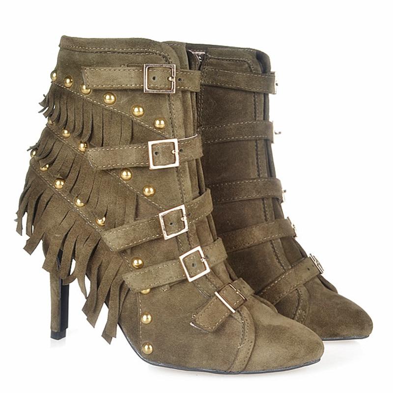 Tacón Otoño Para Borla Cuero Perfetto Decoración Remaches Mujer Botas khaki Zapatos Prova Puntiagudos Brown De Hebilla Alto Con 8qI1w5