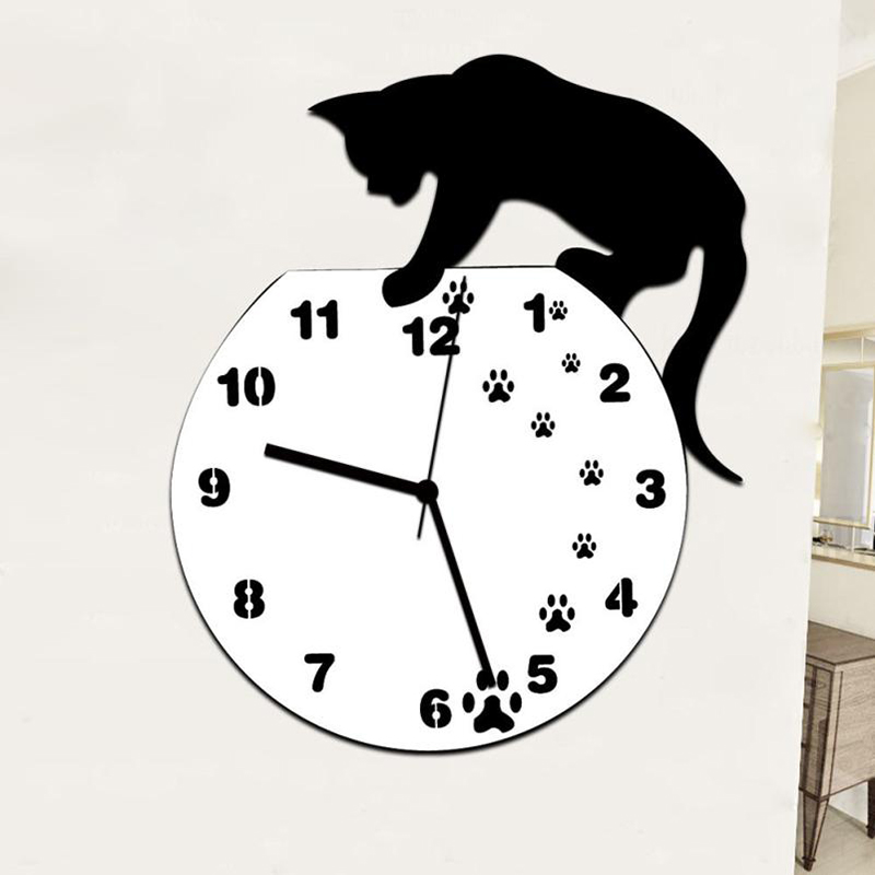 Image 5 - Hot Wall Stickers Wallstickers Cute Footprints Acrylic Clock Modern Home Decor Decoration In Home-in Wall Clocks from Home & Garden