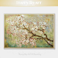 Skilled Artist Pure Hand painted High Quality Blooming Floral Oil Painting on Canvas Beautiful Flower Peach Branch Oil Painting