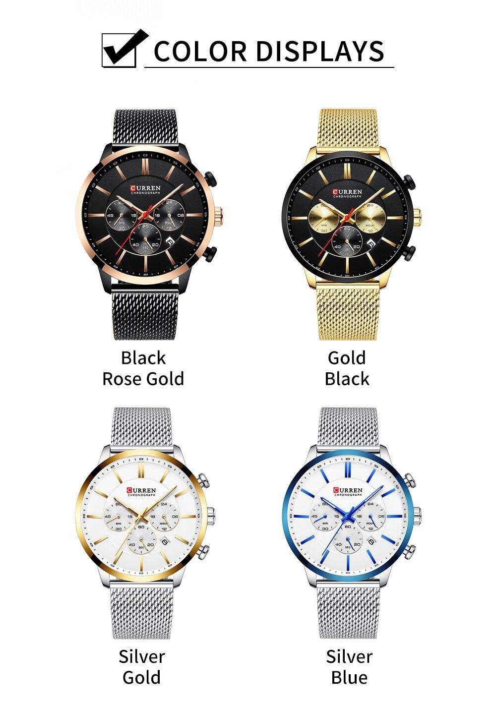 HTB1HOCfa21G3KVjSZFkq6yK4XXao CURREN Watch Men Fashion Business Watches Men's Casual Waterproof Quartz Wristwatch Blue Steel Clock Relogio Masculino