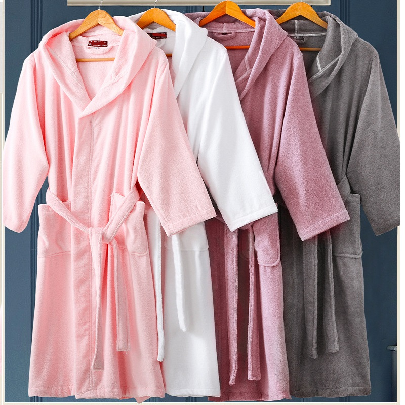 2018Spring Autumn winter thick pure cotton plain color bathrobes robe Unisex long sleeve hooded terry bathrobe