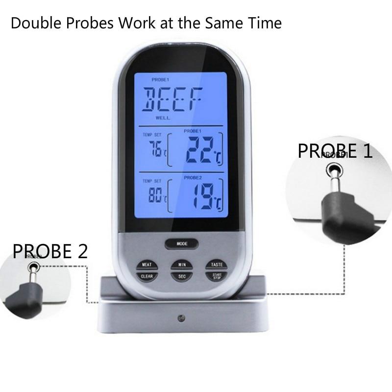 Belaidis virtuvės skaitmeninis maisto termometras su dvigubais zondais su laikmačiu, pavojaus signalu mėsai ant grotelių kepimo orkaitės termometrams