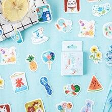 46pcs/box Cute Summer Wind Festival Mini Handmade paper sticker Diary  Scrapbooking Decorative DIY Stickers Stationery