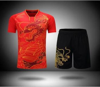 Chiński smok zestawy do tenisa stołowego Ma długi T-shirt mężczyźni kobiety Badminton garnitur ping pong ubrania Badminton koszulki koszulka do gry w tenisa tanie i dobre opinie Pasuje prawda na wymiar weź swój normalny rozmiar NoEnName_Null Polyester fiber (polyester) China Dragon Unisex Male Female Men Women