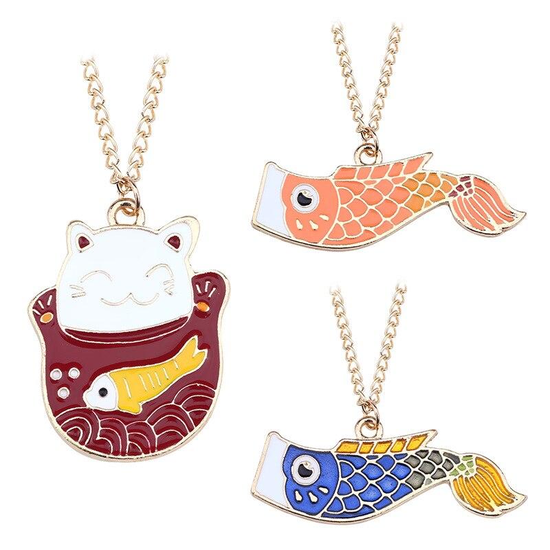 Japanese Fashion Jewelry Lucky Cat Bohemian koinobori Statement Necklace Pendant Female Elegant For Women