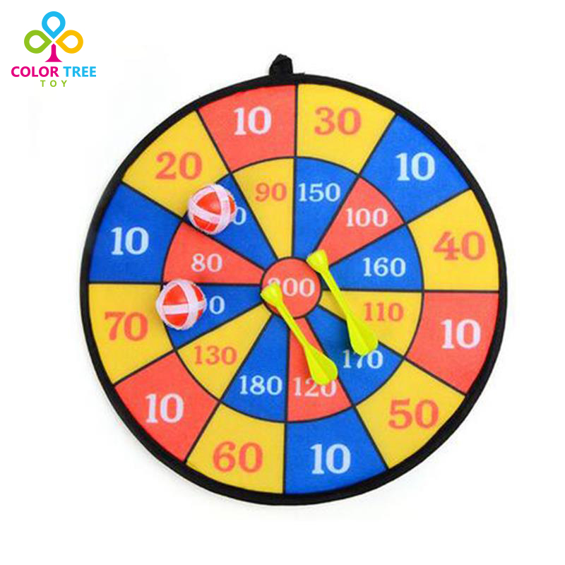 COLOR TREE Children Cloth Dart Board Set Indoor Game Flocking Dartboard Self-adhesive Dart Soft Dart Board Toys for Children