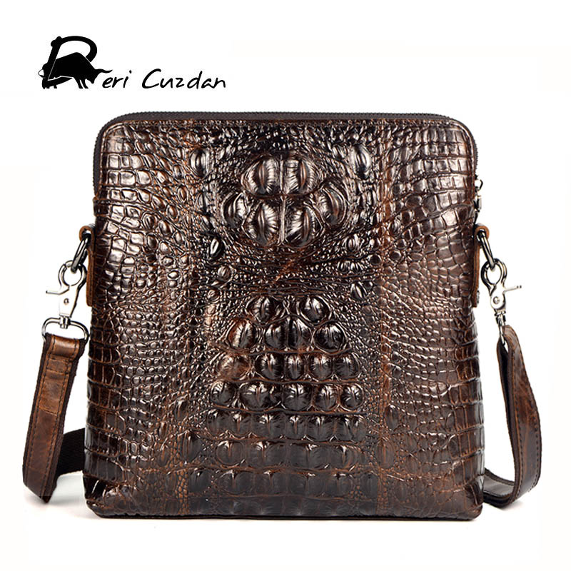 DERI CUZDAN Luxury Men Bag Genuine Leather Crocodile Pattern Small Bags Business Messenger Bag Designer Crossbody Shoulder Bag crocodile pattern cube shaped crossbody bag