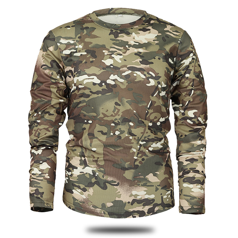 Mege Brand Clothing New Autumn Spring Men Long Sleeve Tactical Camouflage T-shirt camisa masculina Quick Dry Military Army shirt 3