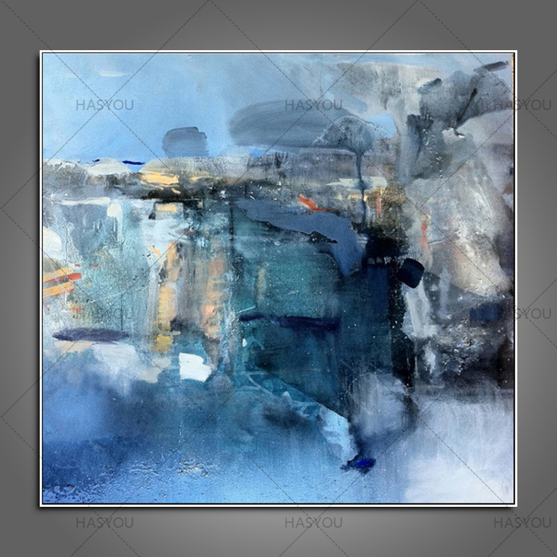 City New York Oil Painting On Canvas Wall Art For Living: Top Artist Handpainted Abstract Blue Modern Oil Painting