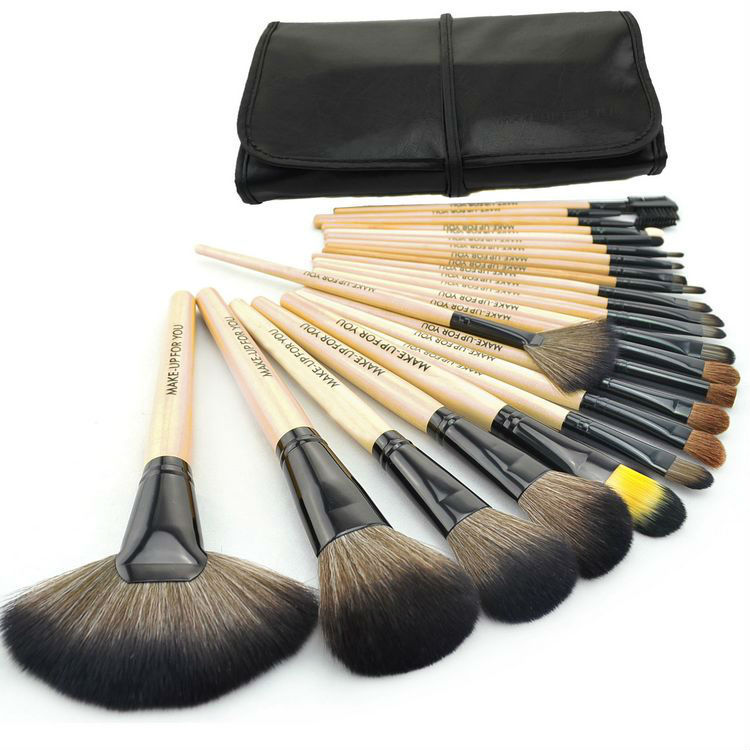 24Pcs Wood Makeup Brushes Kit Professional Cosmetic Make Up Beauty Tool Makeup Brush Set WIth PU Leather Pouch Bag 23 pieces professional versatile portable makeup brush set cosmetics brushes kit make up maquillaje with grass green pouch bag