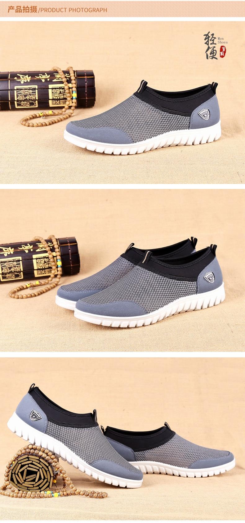 Sapatos casuais masculinos malha respirável mocassins dropshipping