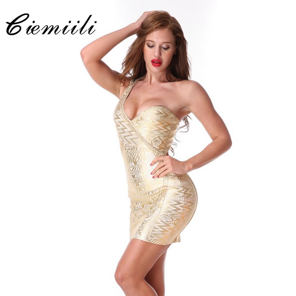 CIEMIILI 2018 Strapless One Shoulder Women Dress New Arrival Summer Sexy Mini Print Sheath Appliques Gold