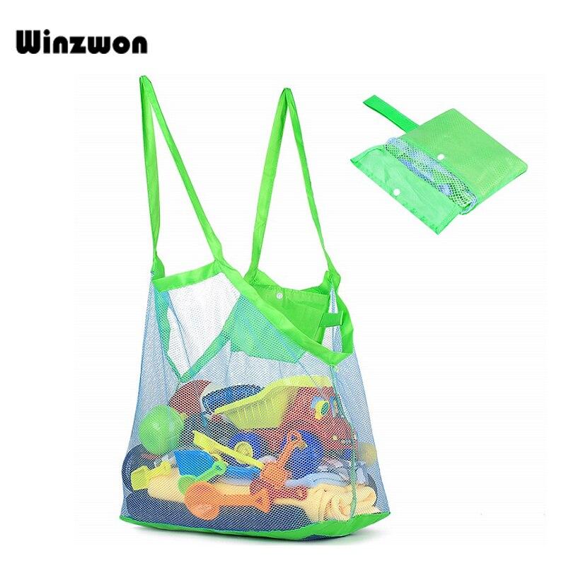 1Pcs Large Reusable Kids Toy Bag Folding Storage Bag Anti Sand Beach Bag Mesh Net Shopping Bag Water Resistant Grocery Bag
