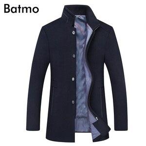 Image 4 - BATMO 2019 yeni varış kış yüksek kaliteli yün kalın trençkot erkekler, erkek gri yün ceketler, artı boyutu M 6XL, 1818